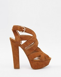 River Island Tan Chunky Platform Sandals