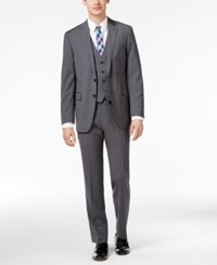 Calvin Klein Men's Big And Tall Slim Fit Gray Blue Windowpane Plaid Vested Suit Grey