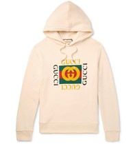Gucci Printed Loopback Cotton Jersey Hoodie Cream