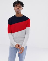 Tom Tailor Diagonal Jumper Stripe With Crew Neck In Grey