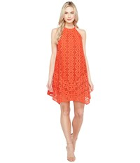 Maggy London Handkerchief Hem Swing Shift Halter Dress Cayenne Women's Dress Red