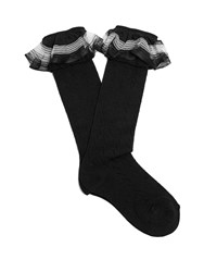 Gucci Ruffle Trimmed Pointelle Knit Socks Black