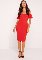 Missguided Bardot Bodycon Midi Dress Red Red