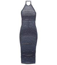 Balmain Knitted Cotton Blend Dress Blue