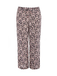 Evans Plus Size Daisy Print Wide Leg Trousers Blue