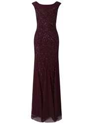 Adrianna Papell Cap Sleeve Fully Beaded Gown Cassis