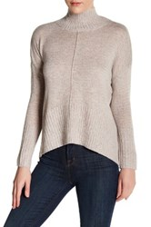 Sweet Romeo Seamed Front Mock Turtleneck Sweater Petite Gray