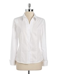Calvin Klein Long Sleeve Button Down Blouse White
