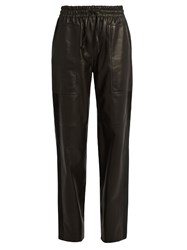 Joseph Astrid Loose Fit Leather Trousers Black