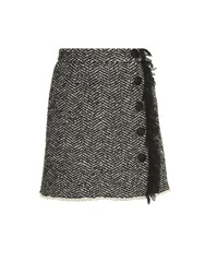 Dolce And Gabbana Side Fringe Herringbone Tweed Mini Skirt