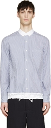 Sacai Blue And White Striped Drawstring Hem Shirt