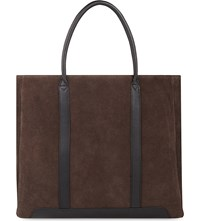 Reiss Tanner Suede Tote Brown