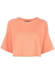 Sally Lapointe Cropped Sleeve Knitted Top Orange