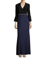 Decode 1.8 Three Quarter Sleeved V Neck Gown Black Blue