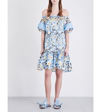Peter Pilotto Off The Shoulder Stretch Cotton Dress Blue
