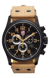 Luminox 'Land Atacama Field' Chronograph Leather Strap Watch 45Mm Golden Tan Black
