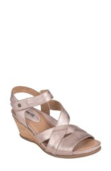 Earth 'S Thistle Wedge Sandal Pink Leather