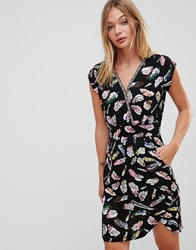 Trollied Dolly Crossover Dress In Feather Print Black