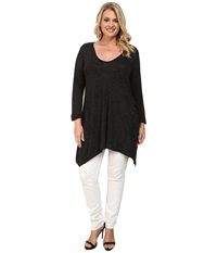 Allen Allen Plus Size Three Quarter Angled Tee Black Women's T Shirt