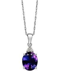 Macy's 14K White Gold Necklace Amethyst 2 1 5 Ct. T.W. And Diamond Accent Pendant