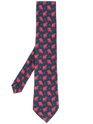 Etro Elephant Print Tie Men Silk One Size Blue