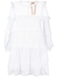 N 21 No21 Mesh Overlay Ruffle Dress White