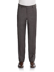 Saks Fifth Avenue Black Flat Front Wool Trousers Brown