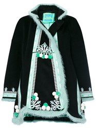 Yuliya Magdych Hutsil Embroidered Coat Cashmere M Black