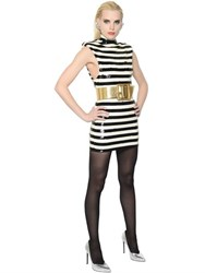 Saint Laurent Striped Sequined Stretch Short Dress