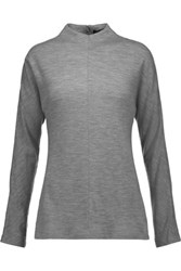 Tibi Merino Wool Jersey Turtleneck Top Anthracite