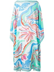 Emilio Pucci Badea Print Tiered Long Sleeve Dress Green