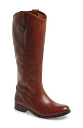 Women's Frye 'Melissa Button' Leather Riding Boot Cognac Leather