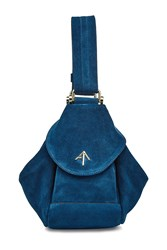 Manu Atelier Micro Fernweh Suede Backpack Blue