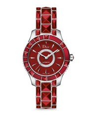 Christian Dior Dior Christal Diamond Red Sapphire Crystal And Stainless Steel Automatic Bracelet Watch Red Silver