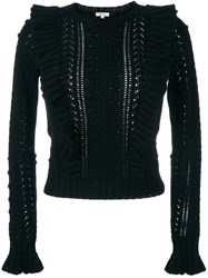 Manoush Cable Knit Ruffled Jumper Black