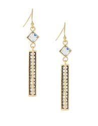 Cole Haan Goldtone Crystal Accented Bar Drop Earrings