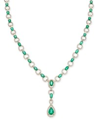 Macy's Emerald 9 Ct. T.W. And Diamond 1 Ct. T.W. Collar Necklace In 14K White Gold Green