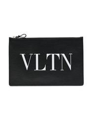 Valentino Leather Large Logo Pouch Black