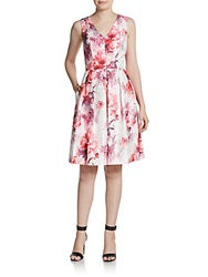 Carmen Marc Valvo Collection V Neck Floral Dress Ivory Coral