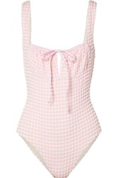 Solid And Striped The Ellery Gingham Seersucker Swimsuit Baby Pink