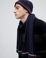 Selected Homme Cable Scarf Dark Sapphire Navy