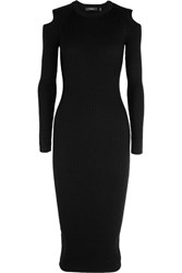 Theory Jemlora Cutout Ribbed Wool Blend Dress Black
