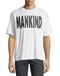7 For All Mankind Men's Typographic Oversized T Shirt White