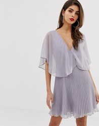 Asos Design Mini Dress With Pleat Skirt And Flutter Sleeve Gold