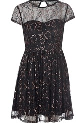 Alice And You Open Back Lace Skater Dress Black