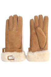 Australia Luxe Collective Buckled Shearling Gloves Camel