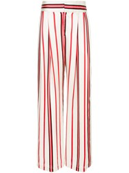 Maggie Marilyn Striped Wide Leg Trousers White