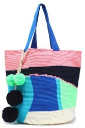 Sophie Anderson Pompom Embellished Woven Tote Turquoise