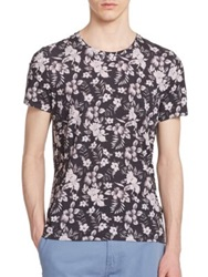 J. Lindeberg Floral Crewneck Cotton Tee Black Multi