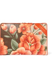 Balenciaga Blanket Floral Print Textured Leather Pouch Orange